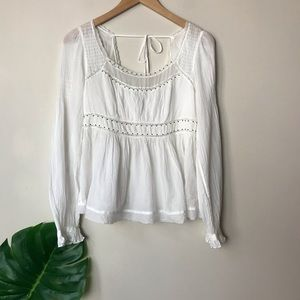 Free People | Strangers in Love Boho Peasant Top S